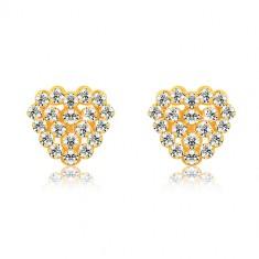 Orecchini in oro giallo 9K - zirconi trasparenti, cuore e contorno cuore