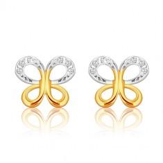 Orecchini in oro 9K in due colori - contorno farfalla con zirconi, perno e farfalla