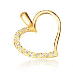 Ciondolo in oro giallo 14K - contorno cuore asimmetrico, metà in zircone brillante