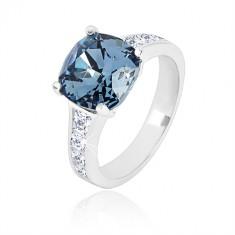 Anello in argento 925 - zircone quadrato blu scuro e zirconi trasparenti