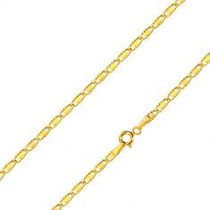 Catena in oro giallo - maglie ovali con ritagli e rettangolo liscio, 500 mm