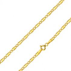 Catena in oro 14K - maglie ovali, maglie oblunghe con rettangolo, 550 mm