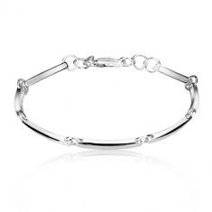 Bracciale in argento 925 - maglie strette brillanti unite con cerchi