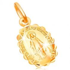Ciondolo in oro giallo 18K - medaglione con Vergine Maria