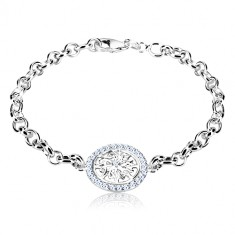 Bracciale in argento 925 - cerchio con fiore inciso decorativo e zirconi