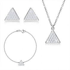 Set in argento 925 a tre pezzi - triangolo equilatero con zirconi, catena