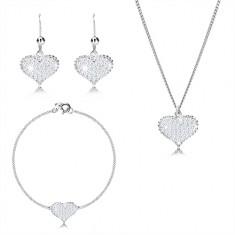Set in argento 925 a tre pezzi - cuore simmetrico con zirconi, catena unita in serie