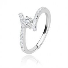 Anello in argento 925 - lati brillanti arcuati, zircone chiaro rotondo in montatura