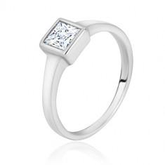 Anello in argento - lati stretti brillanti, zircone quadrato trasparente