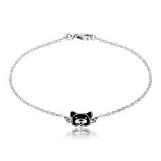 Bracciale in argento 925 - catena brillante, cane ornato con smalto nero, chiusura a moschettone