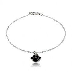 Bracciale in argento 925 - zampa nera, catena brillante a maglie ovali