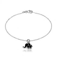 Bracciale in argento 925 - catena brillante, elefante ornato con smalto nero