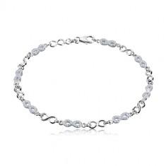 Bracciale in argento 925 - simboli dell'infinito, modello con zirconi