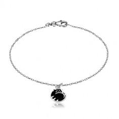 Bracciale in argento 925 - gatto arricciato in una pallina, smalto nero, catena brillante