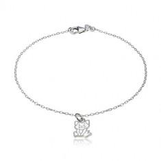 Bracciale in argento 925 -ciondolo con modello gatto, maglie ovali brillanti