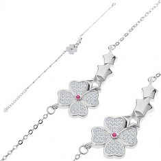 Bracciale in argento 925 - fiore brillante, tre stelle, piccole maglie ovali