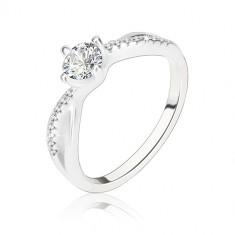 Anello di fidanzamento, argento 925, lati ondati intrecciati, zircone chiaro