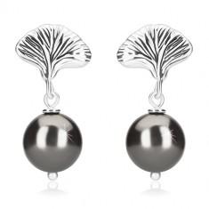 Orecchini in argento 925 - palline in color ematite, conchiglia, chiusura a perno e farfalla