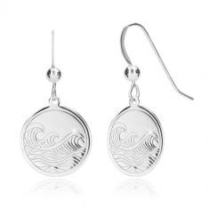 Orecchini in argento 925 - cerchio brillante, superficie incisa, modello mare