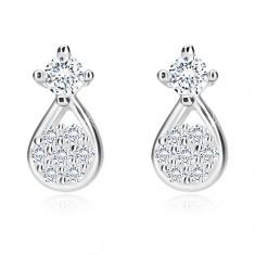 Orecchini in argento 925 - lacrima con fiore in zircone, zircone in montatura, perno