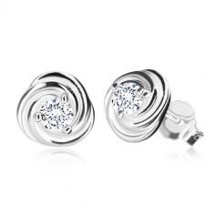 Orecchini in argento 925 - fiore con petali, zircone brillante, perno