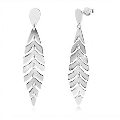 Orecchini in argento 925 - piuma brillante, lacrima ritorta, perno e farfalla