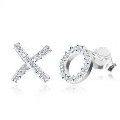 """Orecchini in argento 925  con zircone - lettere """"X"""" e """"O"""", chiusura a perno"""