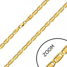 Catena in oro 585 - maglie oblunghe, rettangoli con chiave greca, 600 mm