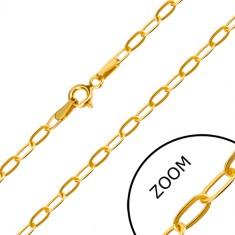 Catena in oro giallo 14K - maglia piatta oblunga, chiusura ad anello a molla, 550 mm
