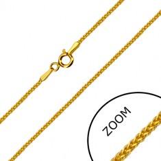 Catena angolare in oro giallo 14K - maglie intrecciate, chiusura ad anello a molla, 500 mm