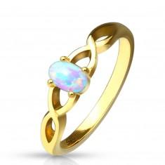 Anello in acciaio color dorato - opale sintetico con riflessioni dell'arcobaleno, lati intrecciati