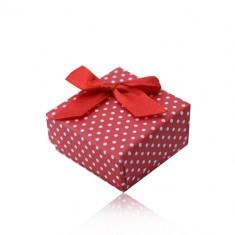 Scatola da regalo rossa per anello oppure ciondolo, puntini bianchi, fiocchetto