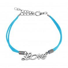 """Bracciale a corda blu chiaro, scritta incisa """"Love"""" in color argento"""