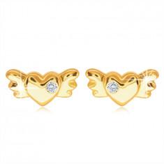 Orecchini a bottone in oro 9K - cuore pieno simmetrico con ali e zircone chiaro