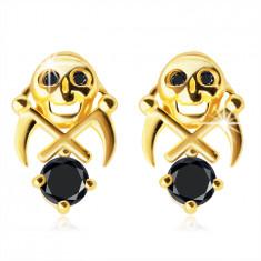 Orecchini in oro 375 - cranio con due falci, zirconi neri