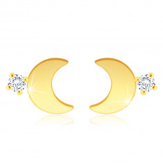 Orecchini in oro 14K - mezzaluna brillante, zircone chiaro