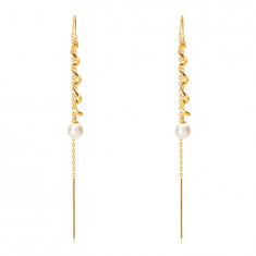 Orecchini pendenti in oro 585 - spirale brillante, perla bianca