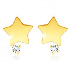 Orecchini a bottone in oro giallo 14K - stella con zircone chiaro