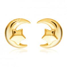 Orecchini a bottone in oro 585 - mezzaluna con stella a pentacolo