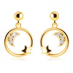 Orecchini in oro giallo 14K - mezzaluna con zirconi e stella in cerchio