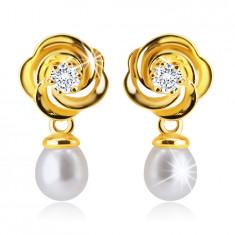 Orecchini a bottone in oro giallo 14K - fiore con petali intrecciati, zircone chiaro, perla bianca