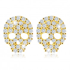 Orecchini in oro giallo 14K - cranio con zirconi chiari