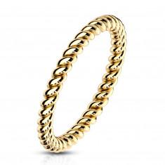 Anello in acciaio color dorato - contorno ritorto a forma di corda, 2mm