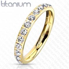 Anello in titanio color dorato - zirconi chiari brillanti, 3 mm