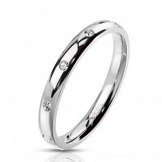 Anello in acciaio color argento - zirconi chiari rotondi, 3 mm
