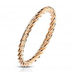 Anello in acciaio color rame - strisce ritorte a forma di corda, 2mm
