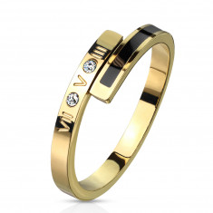 Anello in acciaio color dorato - striscia nera, due zirconi chiari, numeri romani, 2 mm