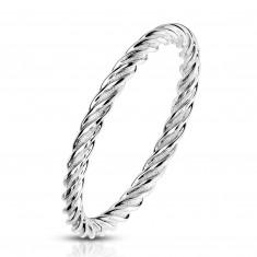 Anello in acciaio color argento - strisce unite strettamente e ritorte, 2 mm