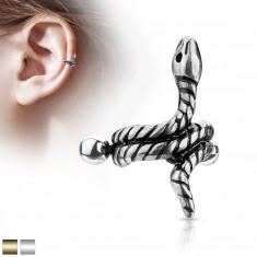 Piercing all'orecchio in acciaio - serpente arrotolato con strisce sul corpo