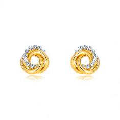 Orecchini in oro 9K con zirconi - tre anelli intrecciati